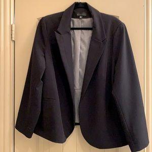 Black open blazer with striped interior lining